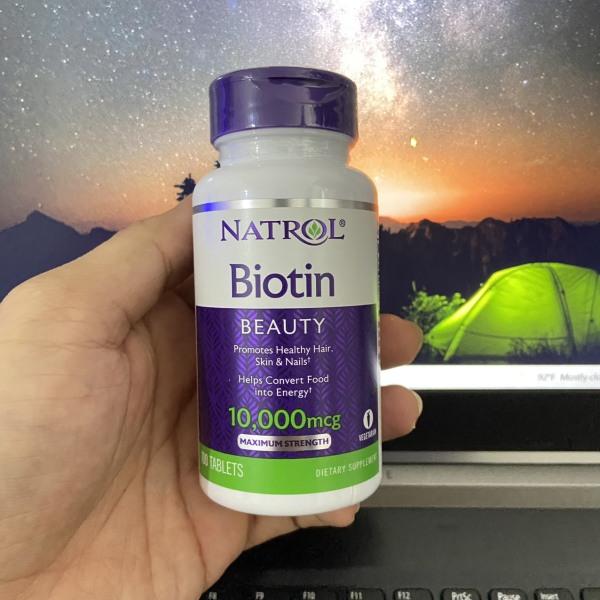 Viên uống bổ sung Biotin Natrol 100v chống rụng tóc Natrol Biotin 10000mcg của Mỹ