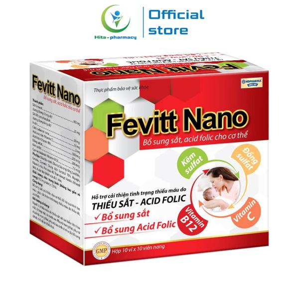 Viên uống bổ máu Fevitt Nano bổ sung Sắt, Acid Folic, giảm tình trạng thiếu máu - Hộp 100 viên nhập khẩu