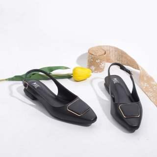 Giày Búp Bê 2cm Hở Gót Khóa Vuông Pixie X450