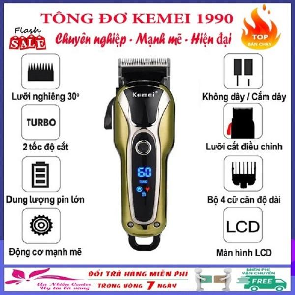 Tông Đơ Cắt Tóc Không Dây Chuyên Nghiệp Kemei KM-1990 [ HÀNG LOẠI 1 ] Tông đơ cắt tóc 2 mức tốc độ Kemei KM-1990 màn hình LCD thông minh hiện thị pin,khóa nguồn,tốc độ..