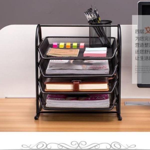 Mua Dụng cụ văn phòng, giá để hồ sơ tài liệu,sách vở đa năng 4 tầng khung kim loại chắc chắn MẪU MỚI Y30 - giao màu ngẫu nhiên