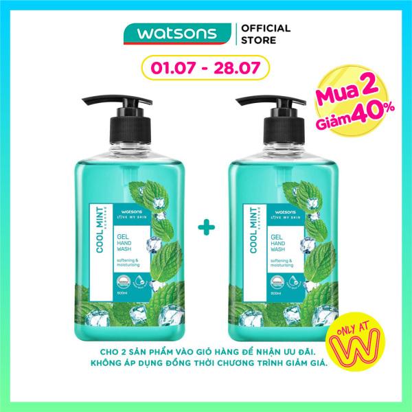 [MUA 2 GIẢM 40%] Gel Rửa Tay Watsons Love My Skin Cool Mint Scented Gel Hand Soap Chiết Xuất Bạc Hà 500ml giá rẻ