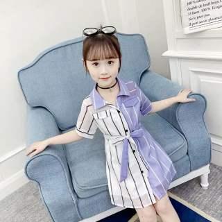 Quần Áo Trẻ Em Cô Gái Mùa Hè Đầm Tương Phản Đơn Giản Cô Gái Chân Váy Thời Trang Bộ Áo Váy Trẻ Em 2020 Mới