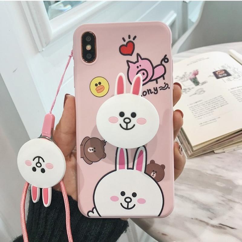 Giá Ốp Iphone 11,11 pro,11 pro max,5,5s,6,6s,6 plus,6s plus,7,8,7plus,8 plus,X,XS,XS Max,ốp lưng silicon Gấu Browny Thỏ Cony tặng dây đeo và giá đỡ-I01