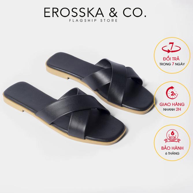 Dép đi biển thời trang Erosska 2021 thời trang mũi vuông thiết kế phối dây quai chéo DE029 (BA) giá rẻ