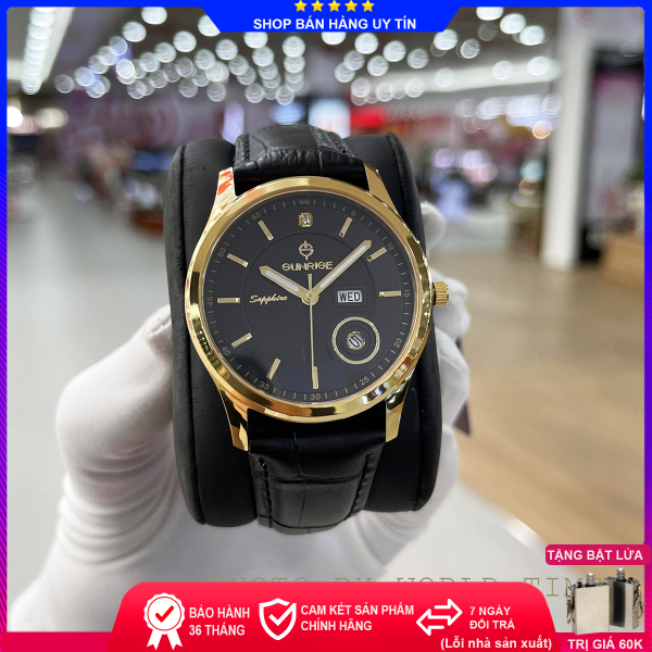 Đồng hồ nam Sunrise DM784SWA  full box, chính hãng, kính Sapphire chống xước chống nước