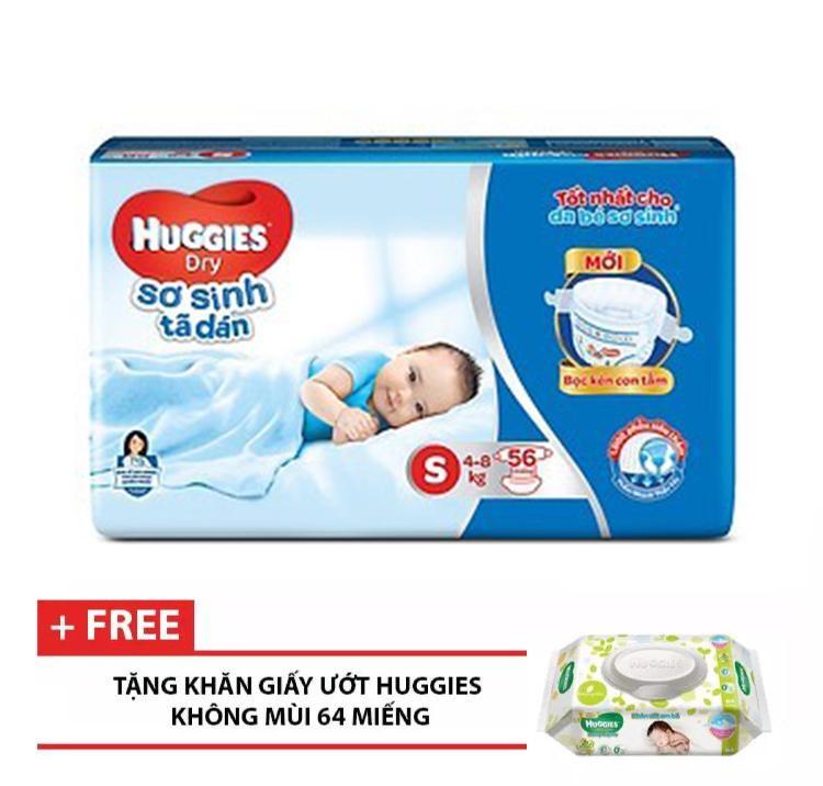 [TẶNG BỊCH KHĂN GIẤY ƯỚT HUGGIES KO MÙI 64 MIẾNG] Tã Dán Sơ Sinh Huggies Dry Newborn S56 (4-8KG)- Mẫu mới BỌC KÉN CON TẰM