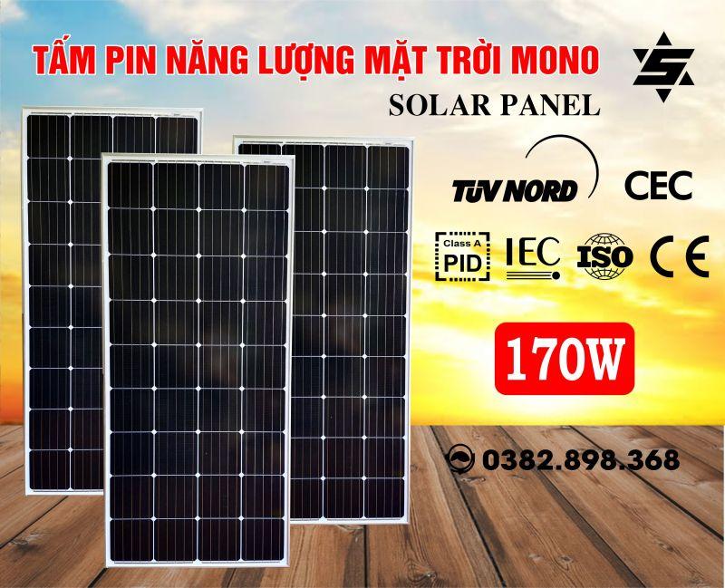 Tấm Pin Năng Lượng Mặt Trời 170W MONO +Tặng Jack MC 4