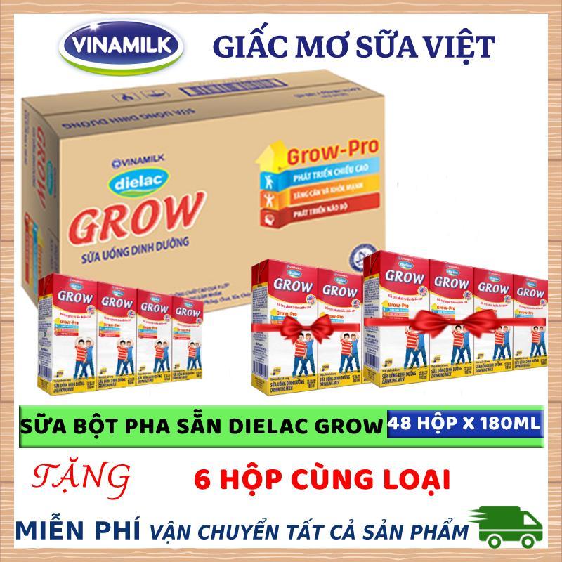 Thùng 48 hộp sữa bột pha sẵn Vinamilk Dielac Grow 180ml + Tặng 6 hộp cùng loại