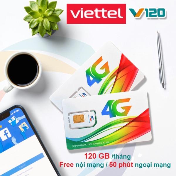SIM V120 4G VIETTEL 60GB/tháng (2Gb/Ngày) + Gọi miễn phí cuộc gọi Nội mạng 20 phút & Miễn phí 50 phút gọi Ngoại mạng
