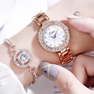 (Tặng hộp đựng và pin đồng hồ) Đồng hồ thời trang nữ Lvfai đính cườm kèm lắc tay cực hot thumbnail