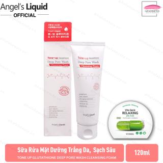 Sữa rửa mặt dưỡng trắng da, làm sạch sâu Angel s Liquid Tone Up Glutathione Deep Pore Wash Cleansing Foam 120ml + Tặng Kèm 1 Mặt Nạ BNBG ( Loại Ngẫu Nhiên) thumbnail