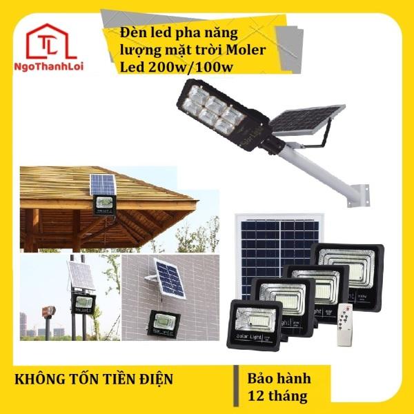 Đèn led pha năng lượng mặt trời Moler Led 100w/200w kèm tấm pin rời, có remote, có cảm biến tự động, dây nối 5m giá tốt