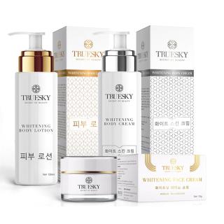 Bộ tắm trắng body cấp tốc và dưỡng trắng da mặt Truesky gồm (1 kem ủ trắng body 100ml + 1 kem body dưỡng trắng 100ml + 1 kem trắng da mặt 10g) thumbnail