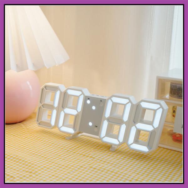 Đồng hồ LED để bàn phong cách Hàn Quốc, đồng hồ 3D treo tường nhiều tính năng tiện dụng