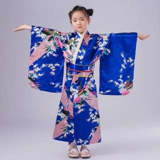 RIO Trẻ Mới Biết Đi Trẻ Em Em Bé Cô Gái Trang Phục Quần Áo Áo Choàng Kimono Nhật Bản Trang Phục Truyền Thống Trẻ Em Cô Gái Bé Đầm Công Chúa Denim Dài Toddler Quần Áo Mặc Cotton Bộ Váy