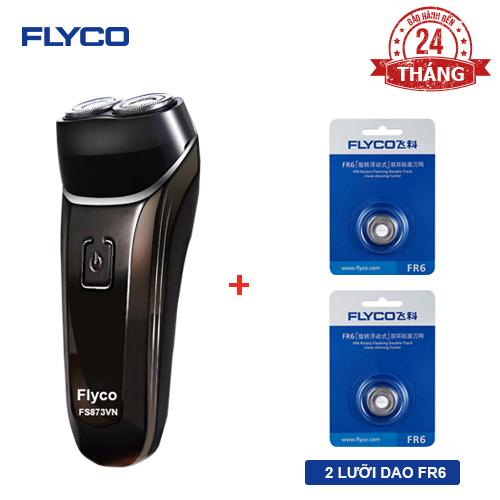 Bộ đôi FLYCO 1 máy cạo râu 2 lưỡi kép chống nước toàn thân FS873VN và bộ 2 lưỡi dao kép FR6