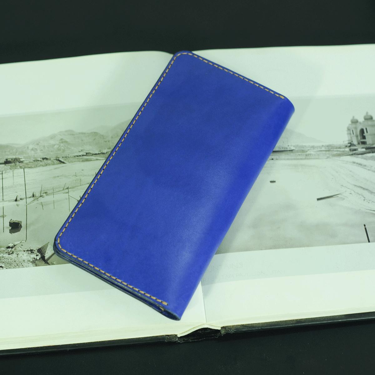 Ví dài cầm tay nữ màu xanh cô ban- Đồ da Handmade - Da bò nhập khẩu VI547