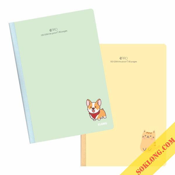 Sổ may dán gáy Caro B5 - 80 trang bìa dày Klong MS 834
