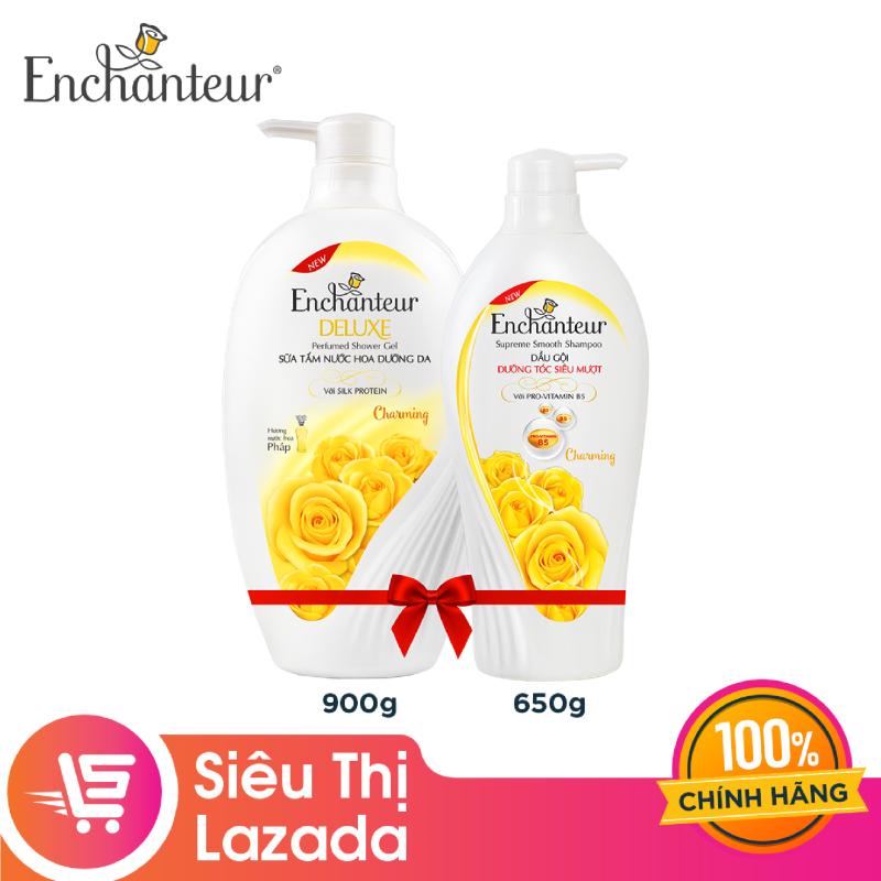 [Siêu thị Lazada] Combo Enchanteur Charming: Sữa tắm 900g + Dầu gội 650g - giúp tóc mềm mượt óng ả hương nước hoa Pháp lưu lại lâu trên tóc