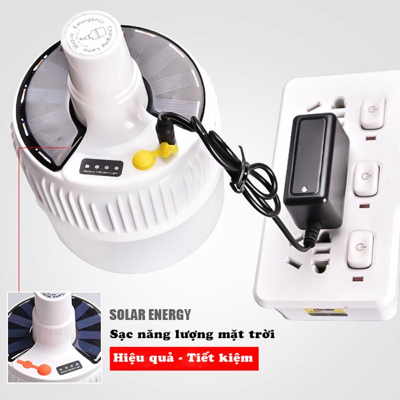 [LOẠI XỊN - SẠC ĐIỆN] Bóng Đèn Tích Điện 80W, Bóng Đèn Năng Lượng Mặt Trời 24 LED 4 Chế Độ Sử Dụng Cho Đi Du Lịch Qua Đêm, Bán Hàng Ngoài Đường Ko Cần Nguồn Ổ Điện