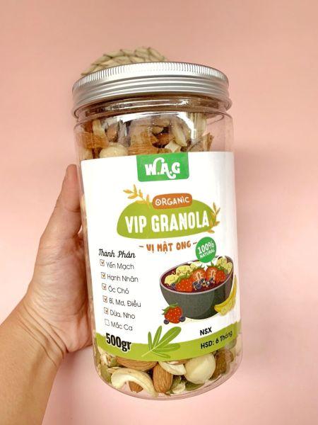 Ngũ cốc ăn kiêng Granola (siêu hạt: 85% hạt,15% yến mạch),(có óc chó vàng, mắc ca)