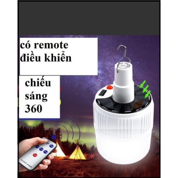 Bóng đèn tích điện LED 100w Sạc tích điện thông minh- sạc năng lượng mặt trời- có móc treo tiện lợi- kèm điều khiển dây sạc và nguồn điện