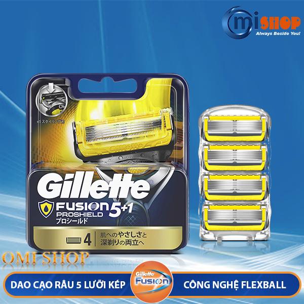 Vỉ 04 lưỡi dao cạo râu thay thế Gillette Fusion 5+1 Proshield, hàng nội địa Nhật
