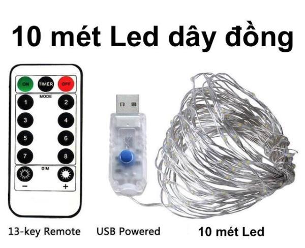 Dây đèn LED dây đồng 10m có Remote điều khiển, Dây đèn chớp nháy dùng trang trí nhà quán cafe, tiệc Giáng Sinh, Sinh nhật hoặc đón tết năm mới  Kyto Shop