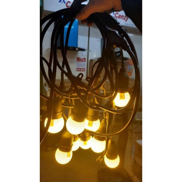 Dây đui đèn trang trí ngoài trời kèm cả bóng 5m 10 đui/chống nước trang trí quán trà chanh/ cafe/sân vườn