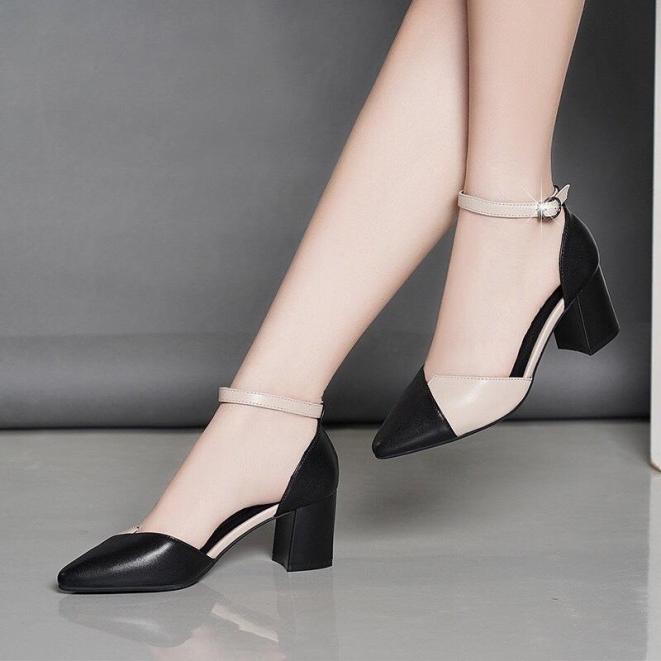 Giày cao gót vuông 7p da mềm kem phối giá rẻ