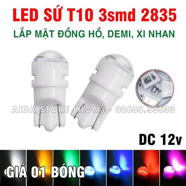 [HCM]01 bóng đèn LED T10 sứ 3smd 2385 lắp cho mặt đồng hồ demi xi nhan xe máy ô tô DC 12v