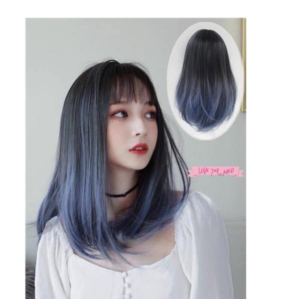 Tóc giả omber xanh 😍FREESHIP😍😍 tóc nguyên đầu cúp omber xanh