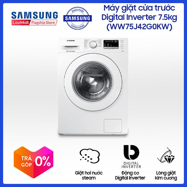 Máy giặt cửa trước Samsung Digital Inverter WW75J42G0KW/SV 7.5 kg (Trắng), Smart Check, tiết kiệm điện, công nghệ Eco bubble - Hãng phân phối chính thức