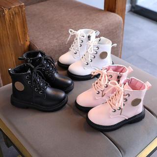 Giày Trẻ Em Bốt Da Ngắn Cho Bé Gái Bốt Martin Thường Ngày Cho Bé Trai Mùa Thu 2020 Thời Trang Anh Quốc Mới 1-2-3 Tuổi