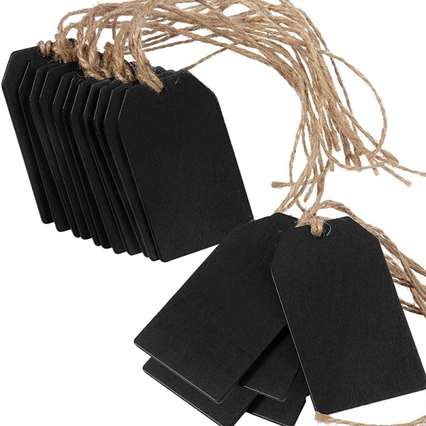 Chalkboard Tags Hanging Wooden Mini Chalkboard Signs , Hanging Chalkboard Labels,Message Tags, Black