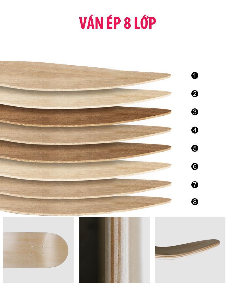 Ván trượt skateboard thể thao chất liệu gỗ phong ép cao cấp 8 lớp mặt nhám - 3