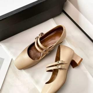 RLB969 Hepburn Mary Jane Giày Nữ Hoài Cổ 2020 Mùa Thu Mới Giữa Gót Miệng Nông Khóa Pháp Gót Dày Duy Nhất Giày Phụ Nữ