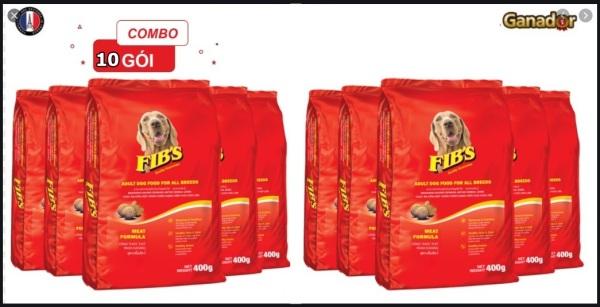 [ COMBO 10 Gói] Thức ăn hạt cho Chó trưởng thành. Fibs- 400g gói. TC 4kg.
