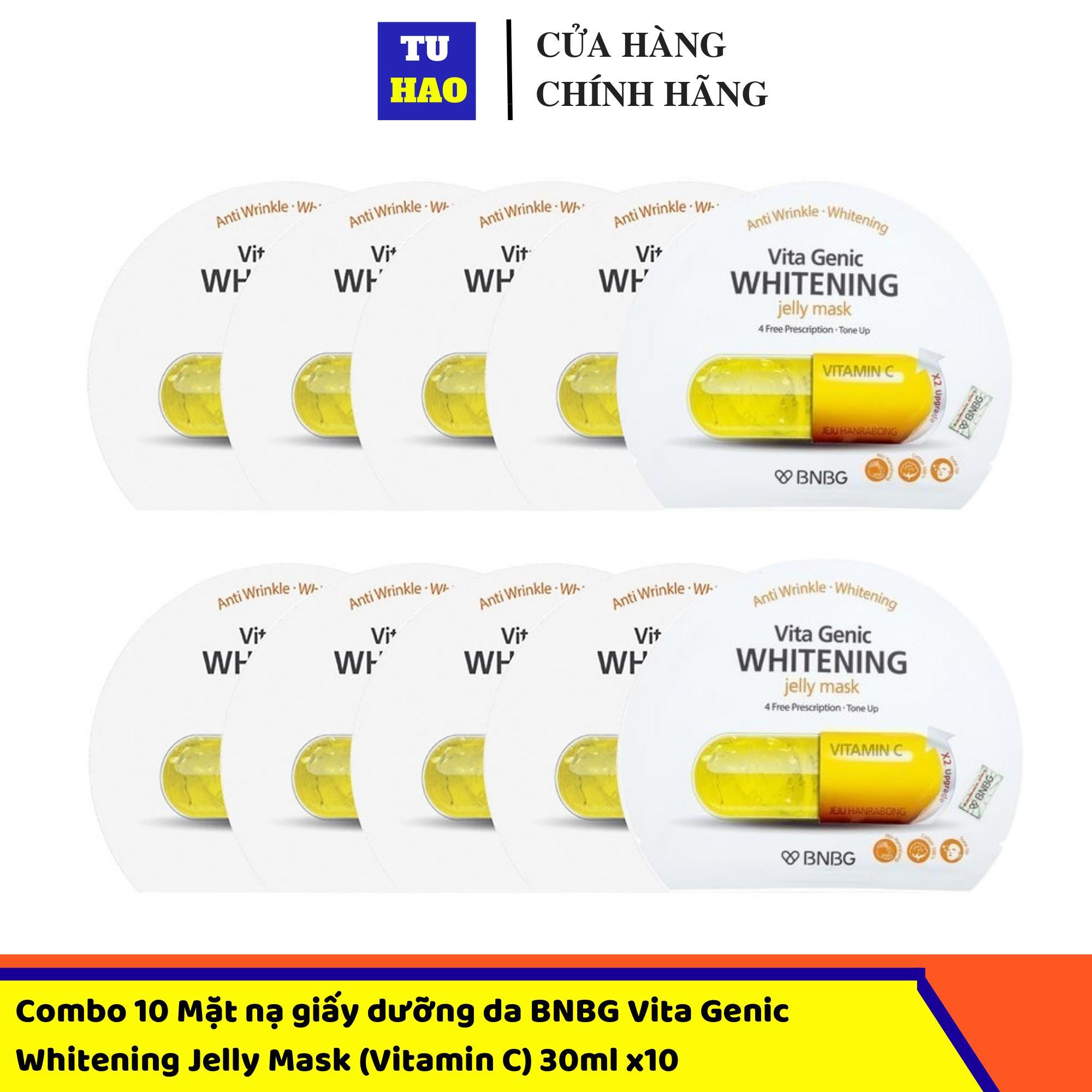 Hộp 10 Mặt nạ giấy dưỡng da BNBG Vita Genic Whitening Jelly Mask (Vitamin C) 30ml x10