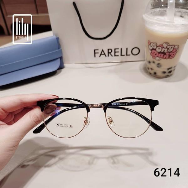 Giá bán Gọng kính cận nữ u001dHàn 6214 kính nửa viền mỏng bảo hành 12 tháng gọng tròn bầu trong suốt nhựa dẻo kính trắng giả cận