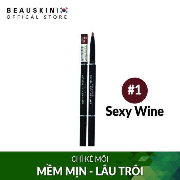 Chì vặn kẻ viền môi 2 đầu bền màu Beauskin Crystal Auto Lip Liner 1 Sexy Wine - Hàn Quốc Chính Hãng tốt nhất
