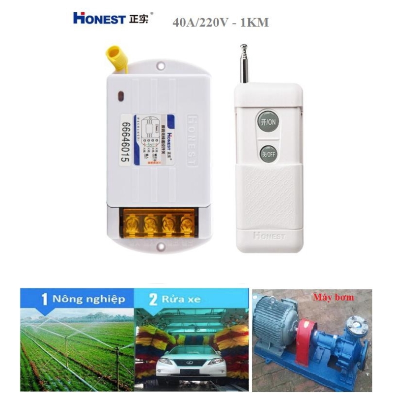 [CÓ HỌC LỆNH]Bộ công tắc điều khiển tắt mở thiết bị điện từ xa công suất lớn Honest HT-6220KG-1 khoảng cách 1KM (40A-220V), công tắc wifi, công tắc bật tắt máy bơm nước từ xa, ổ cắm điều khiển từ xa, ổ cắm wifi, công tắc điện