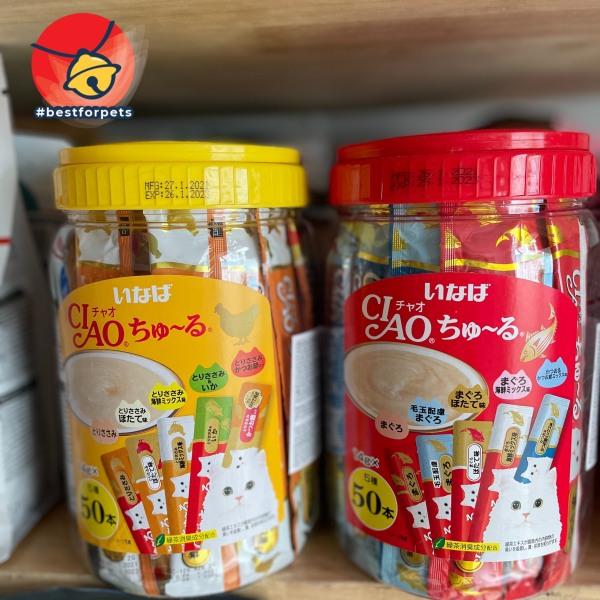 [Hàng chuẩn chất lượng Nhật Bản] Súp thưởng Ciao Churu Inaba cho mèo - Hộp 50 thanh mix vị