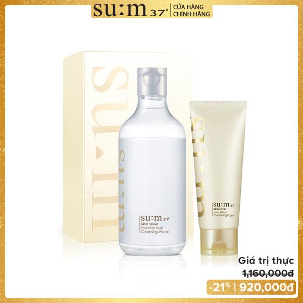 Bộ nước tẩy trang và sữa rửa mặt sạch sâu ẩm mịn da Su:m37 Skin Saver Pure Cleansing Duo Set 520ml