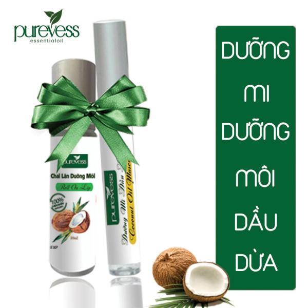 Mascara dưỡng mi và dưỡng môi dầu dừa PUREVESS giúp mi dài và dày, bảo vệ mi, không thấm nước, giúp mi cong dày, giúp môi giảm thâm, giảm nứt và hồng tự nhiên.