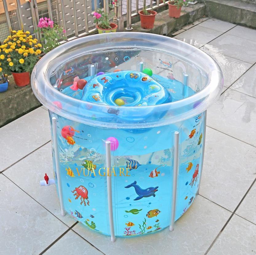 Bể Bơi Đứng Thành Cao Trong Suốt Baby Supplies (80x80cm) + Tặng kèm phao cổ tập bơi cho bé