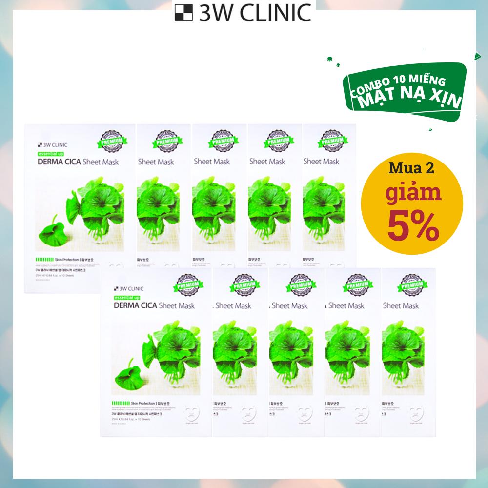 Hộp 10 Miếng Mặt nạ Rau Má Dưỡng Da Cao Cấp Hàn Quốc 3W Clinic Essential Up Derma Cica 25ml x10