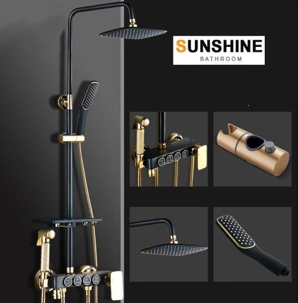 Bảng giá Bộ vòi sen cây tắm nóng lạnh đồng thau cao cấp nhập khẩu chính hãng Sunshine SS4000 (Đen Vàng)-4 Nút cơ học