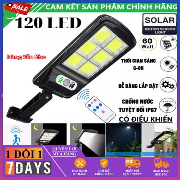 Đèn Năng Lượng Mặt Trời Solar Street Lamp 6 Bóng Cảm Biến Chuyển Động, Kèm Điều Khiển Tắt Bật Từ Xa Chính Hãng